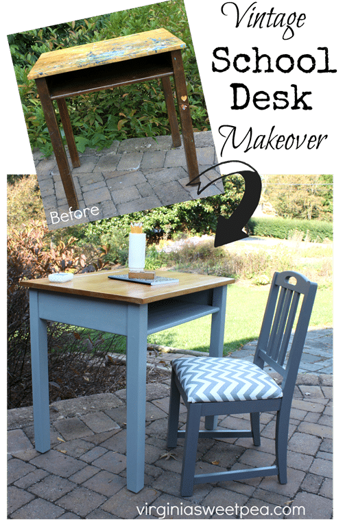 Vintage School Desk Makeover by virginiasweetpea.com