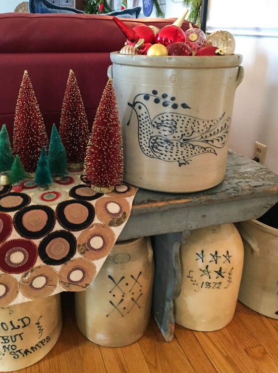 Christmas Home Tour in Waynesboro, VA - Folk Art Pottery used in Christmas decor