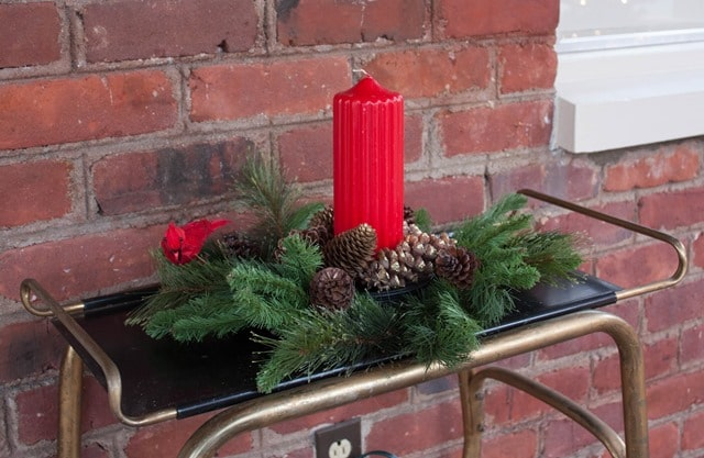 Easy Christmas Centerpiece with Faux Greenery