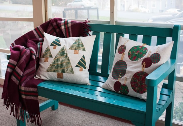 Christmas pillow covers made from drop cloths