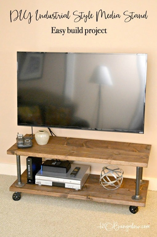Easy-build-DIY-Industrial-media-stand-with-wheels-