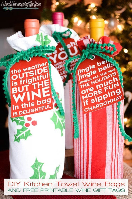 diy kitchen towel wine bags