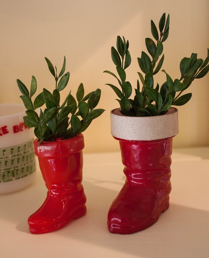 Vintage Christmas Decor - Antique Santa Boot Candy Containers