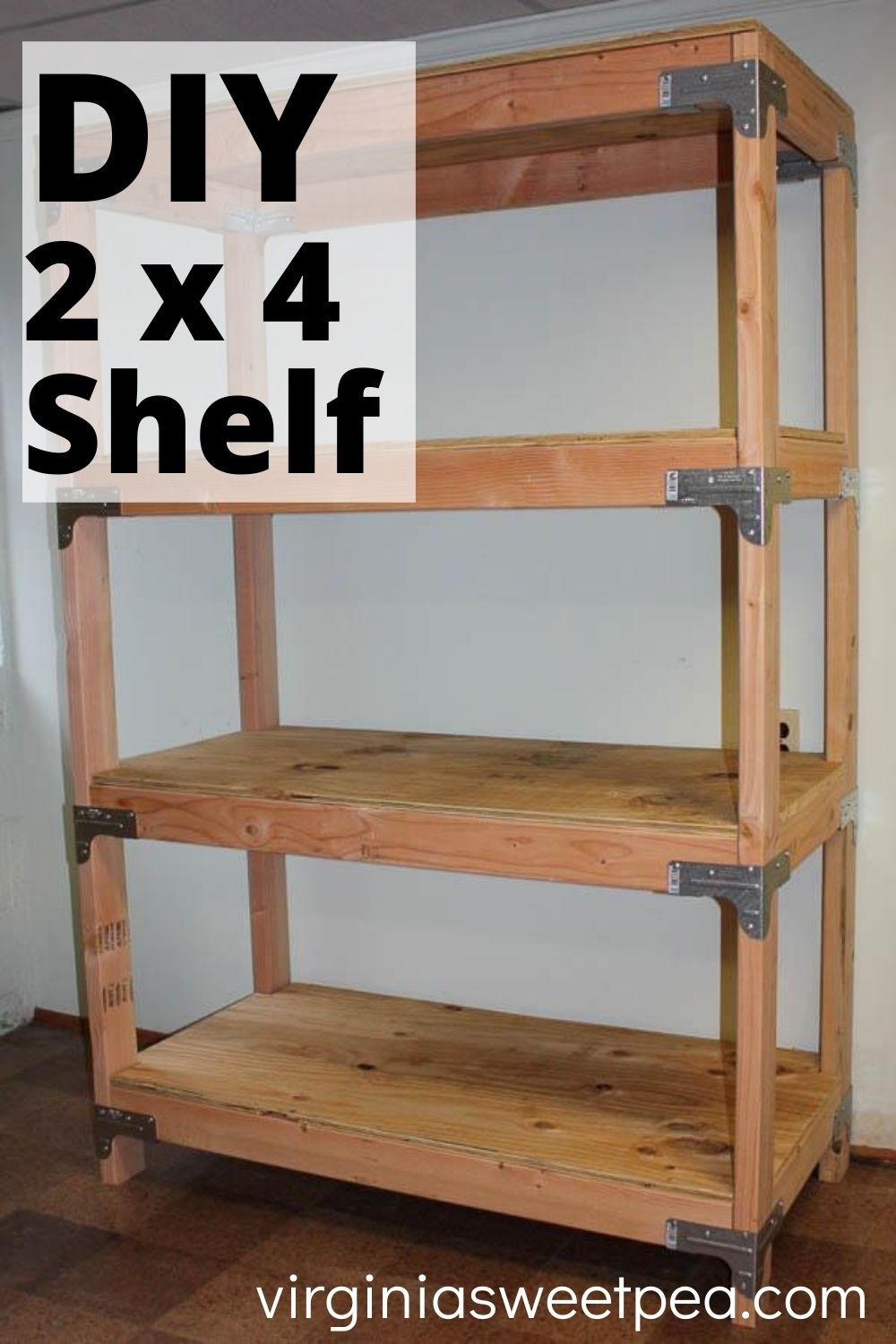 DIY 2x4 Shelf - Learn how to make a super handy shelving unit with plyboard and 2x4 lumber.  This is great for a garage, basement, or shed.  #2x4project #diyshelves #diyshelvingunit via @spaula