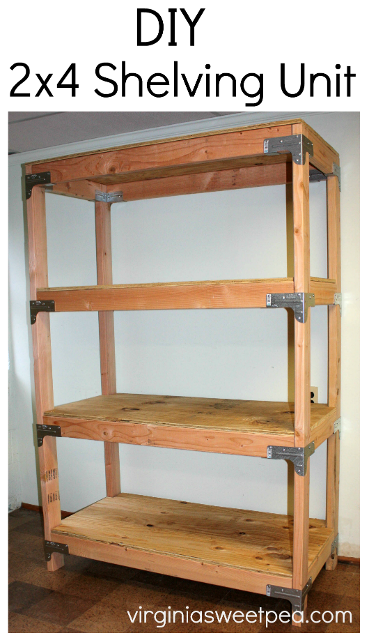 DIY 2x4 Shelving Unit - Learn how to make this handy storage piece for your home  sc 1 st  Virginia Sweet Pea : basement shelves diy  - Aeropaca.Org