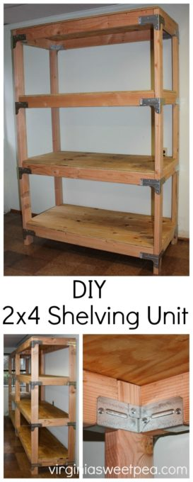 DIY 2x4 Shelving Unit - Learn how to make this useful piece for your home using 2x4 lumber. virginiasweetpea.com