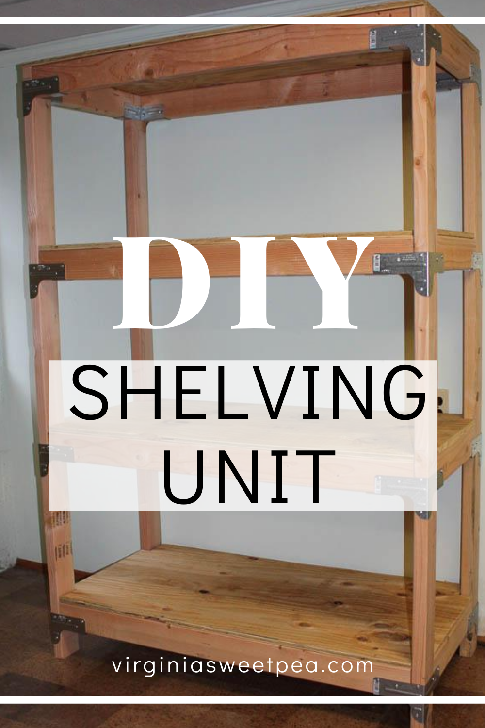 DIY 2x4 Shelving Unit - Learn how to make a super handy shelving unit with plyboard and 2x4 lumber.  This is great for a garage, basement, or shed.  #2x4project #diyshelves #diyshelvingunit via @spaula