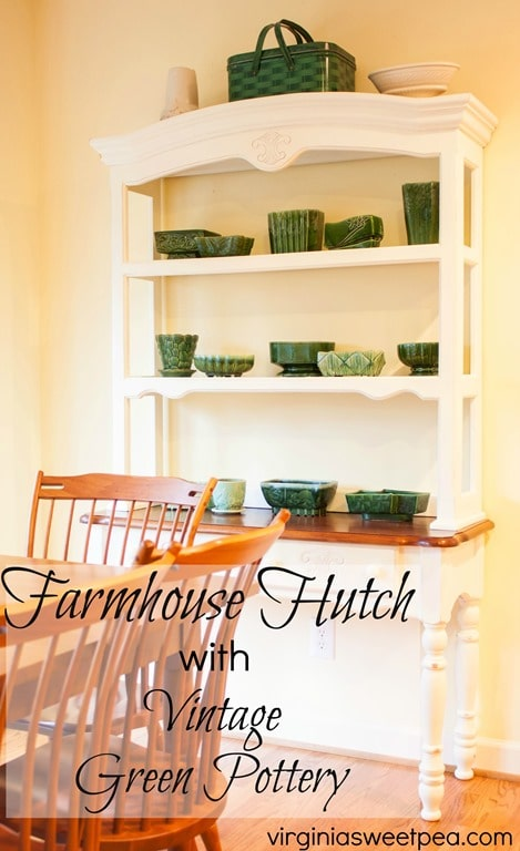 Farmhouse Hutch with Vintage Green Pottery by virginiasweetpea.com