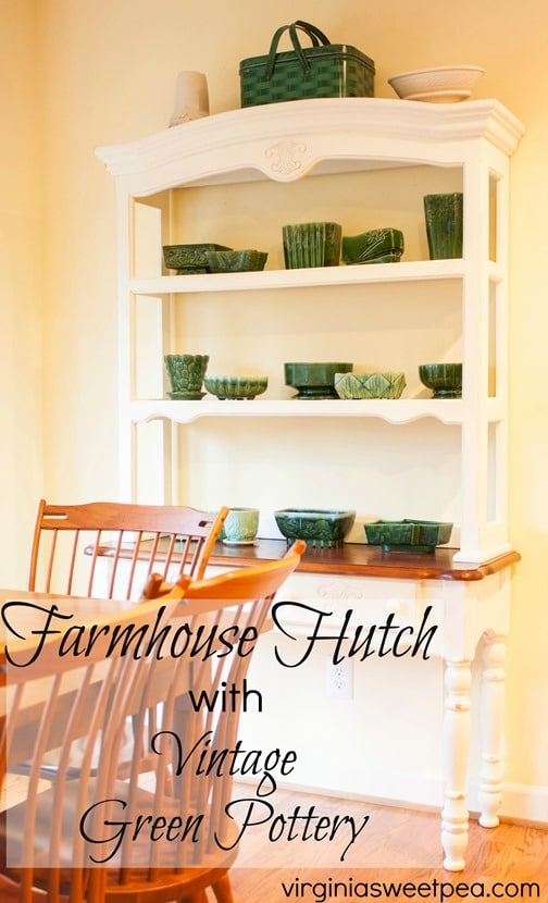 Farmhouse Hutch with Vintage Green Pottery - virginiasweetpea.com