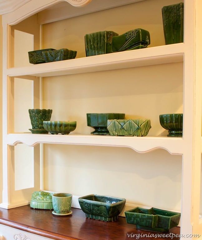 Vintage Green Pottery Displayed on a Farmhouse Hutch