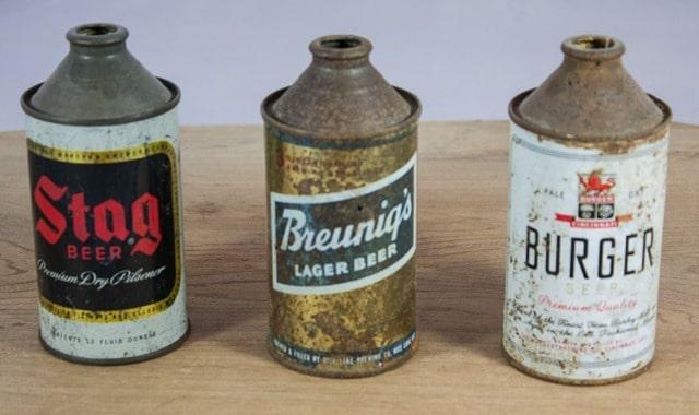 Vintage Beer Cans: Stag Beer, Breunig's Lager Beer, Burger Beer