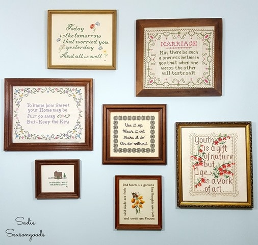 9_vintage_motto_sampler_at_thrift_store_for_gallery_wall_of_wisdom_by_Sadie_Seasongoods
