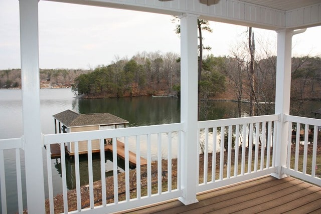 The view from our deck at Smith Mountain Lake, VA
