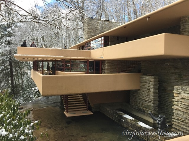 At Fallingwater, a Frank Lloyd Wright designed home in PA, the home was built over a waterfall.