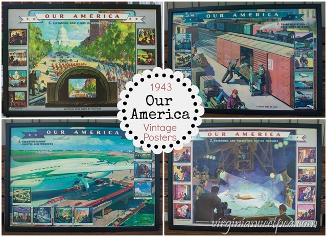 1943 Our America Vintage Posters Set - These vintage posters were distributed by Coca Cola and were used in classrooms during and after WWII.