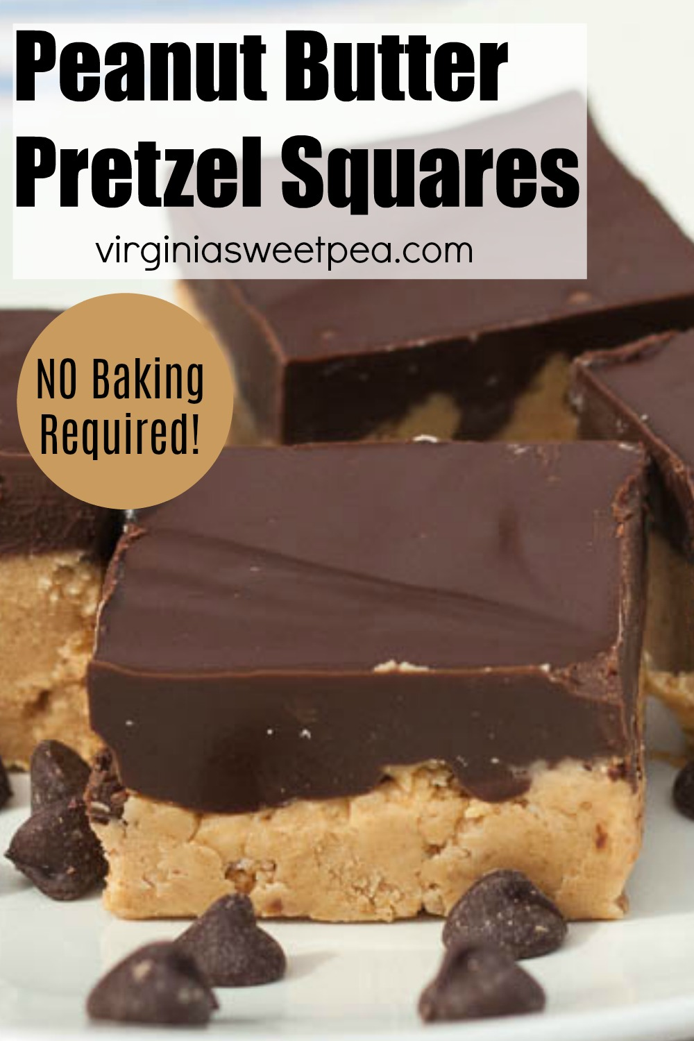 No Bake Peanut Butter Pretzel Squares - This recipe uses pretzel crumbs in the crust instead of the usual graham cracker crumbs. The combination of salty and sweet is irresistible! #peanutbuttersquares #peanutbutterdessert #cookiebars #barcookierecipe #barcookie via @spaula