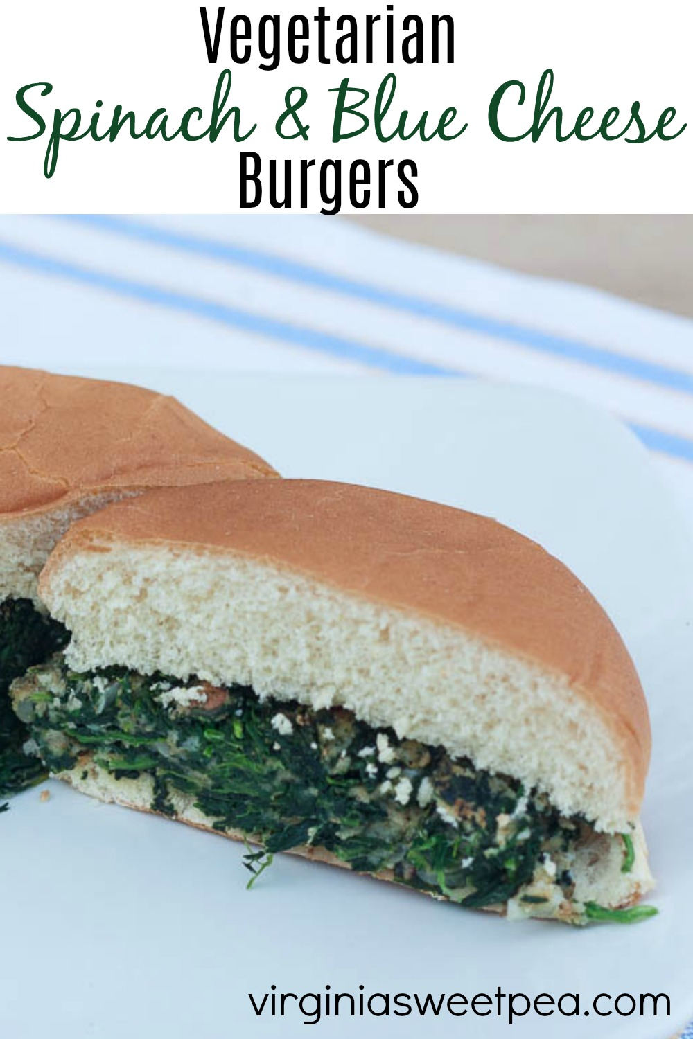 Vegetarian Spinach and Blue Cheese Burgers - Skip the meat with this delicious spinach burger!  This is a family favorite recipe that is great for grilling.  #vegetarian #meatless #vegetarianburger #spinachburger via @spaula