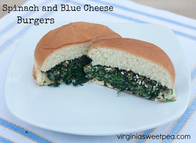 Spinach and Blue Cheese Burgers - This vegetarian burger is loaded with spinach and blue cheese and is oh-so-good. Get the recipe at virginiasweetpea.com.