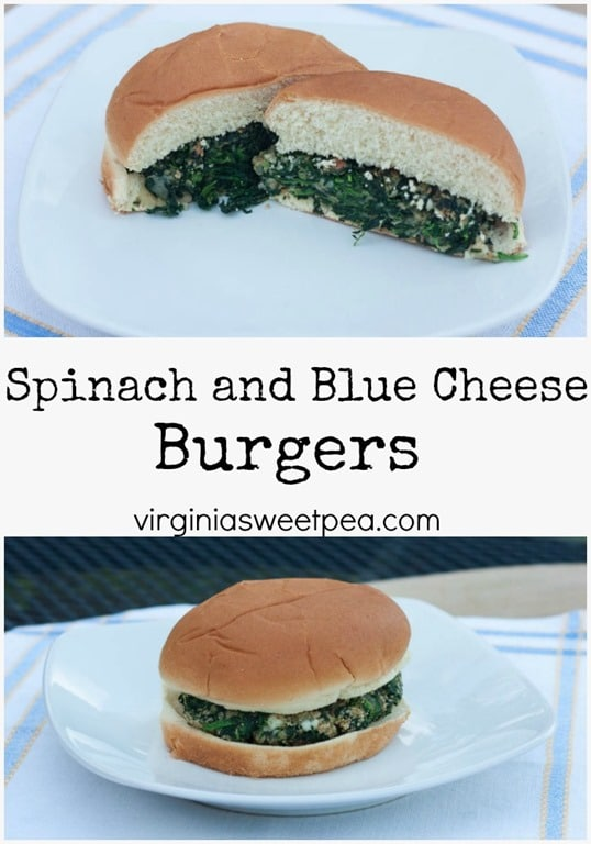 Spinach and Blue Cheese Burgers - This vegetarian burger is a tasty combination of spinach, onion, Italian bread crumbs, salt and pepper, an egg, and blue cheese. Get the printable recipe at virginiasweetpea.com.