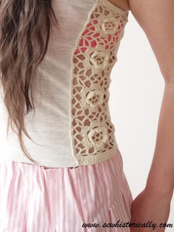 How to Refashion a Shirt with Crocheted Lace