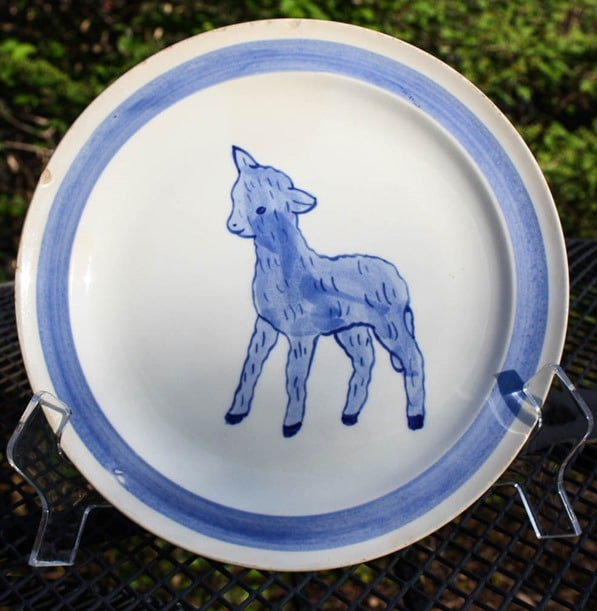 Blue Ridge Pottery Lamb Child's Plate - virginiasweetpea.com