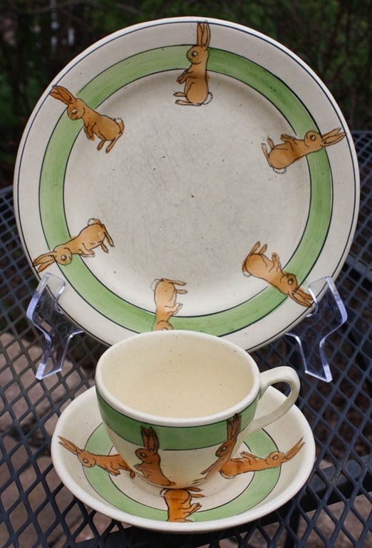 Roseville Child's Bunny Cup and Saucer with Plate - virginiasweetpea.com