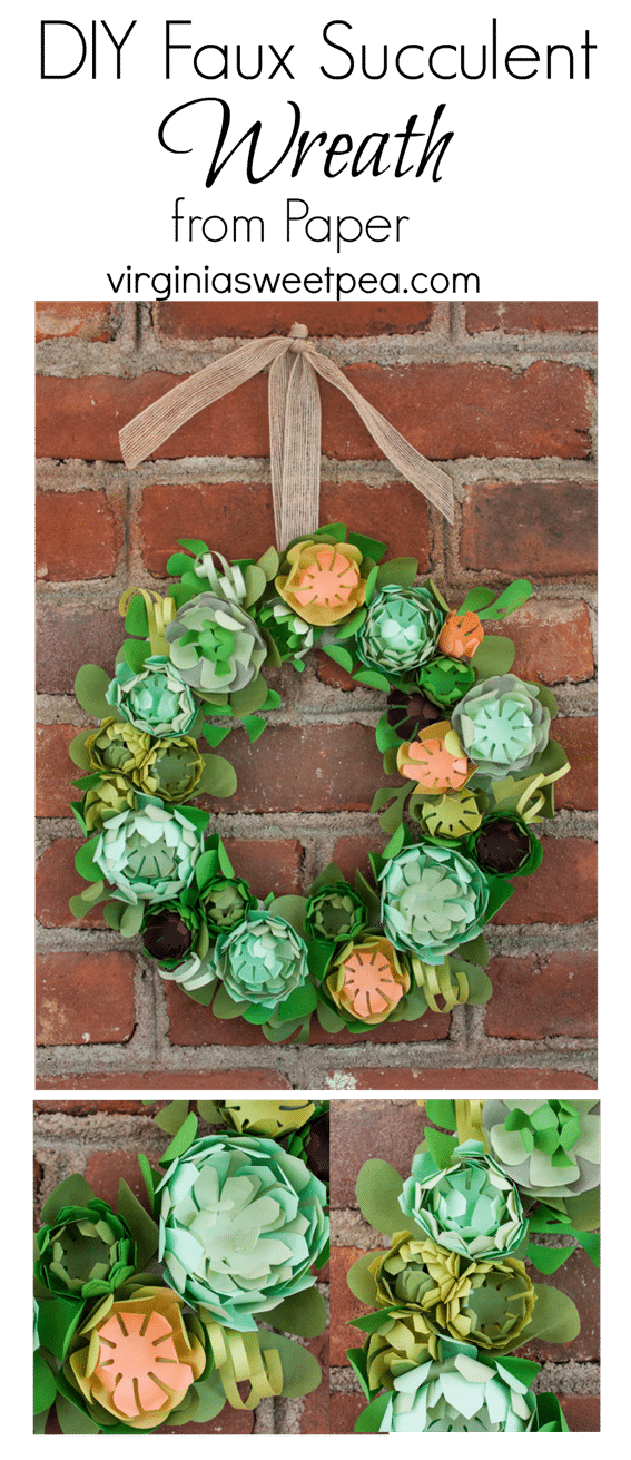 DIY Faux Succulent Wreath from Paper - This beautiful wreath is made is just a few hours using a kit. virginiasweetpea.com