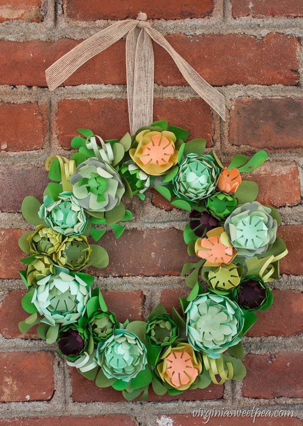 DIY Faux Succulent Wreath from Paper - This beautiful wreath was made using a kit.  virginiasweetpea.com