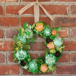 DIY Faux Succulent Wreath made with Paper