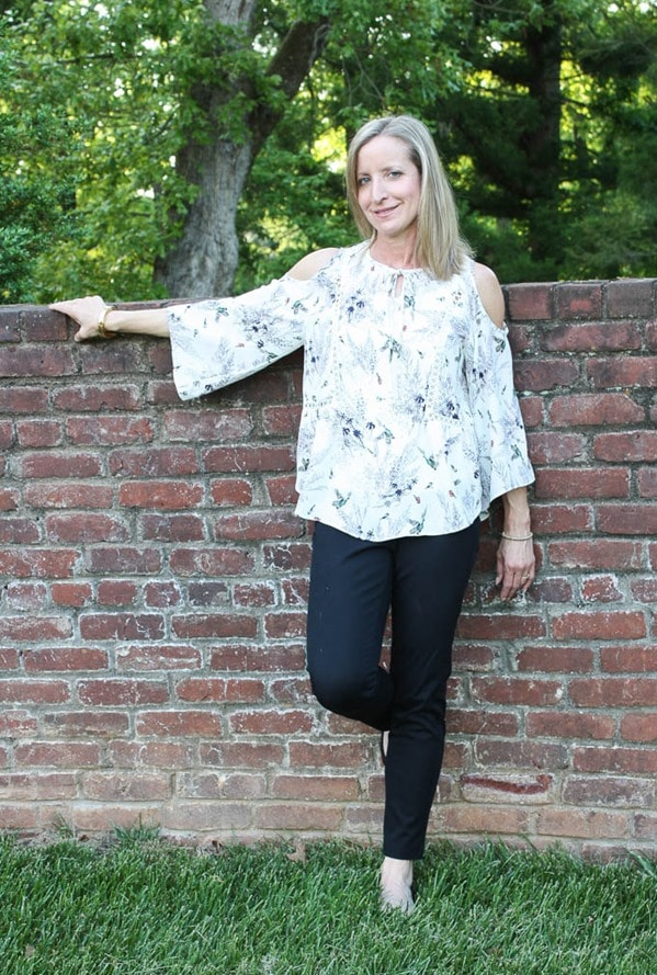 May 2017 Stitch Fix Review - Q&A Bennet Cold Shoulder Blouse- virginiasweetpea.com