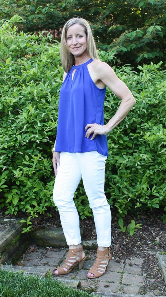 May 2017 Stitch Fix Review - Papermoon Garland Keyhole Halter Blouse - virginiasweetpea.com