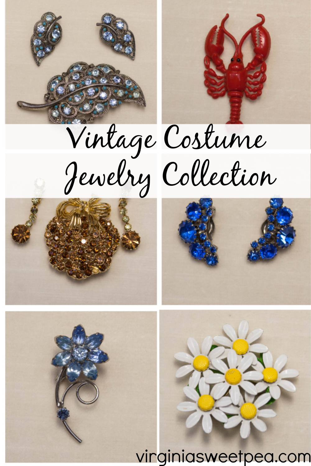 Vintage Costume Jewelry - See a collection of costume jewelry from the 1930s to the 1970s. #vintagejewelry #vintagecostumejewelry via @spaula