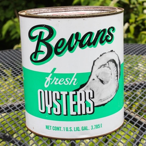 Vintage Bevans Fresh Oysters Can - virginiasweetpea.com