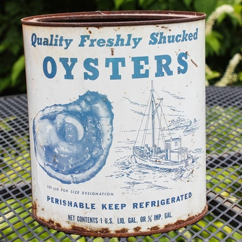 Vintage Oyster Can from Rice Oyster Company in Farnham, VA - virginiasweetpea.com