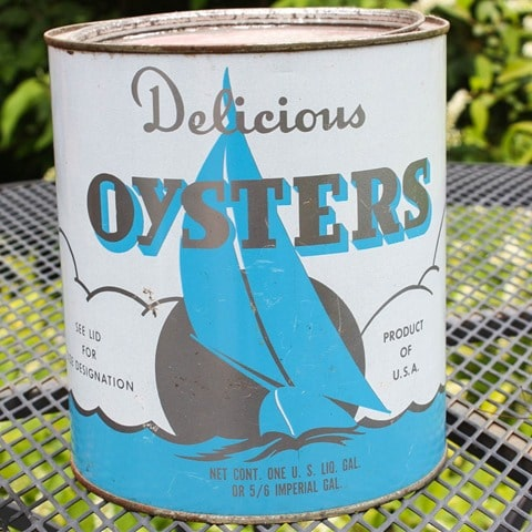 Vintage Oyster Can - virginiasweetpea.com