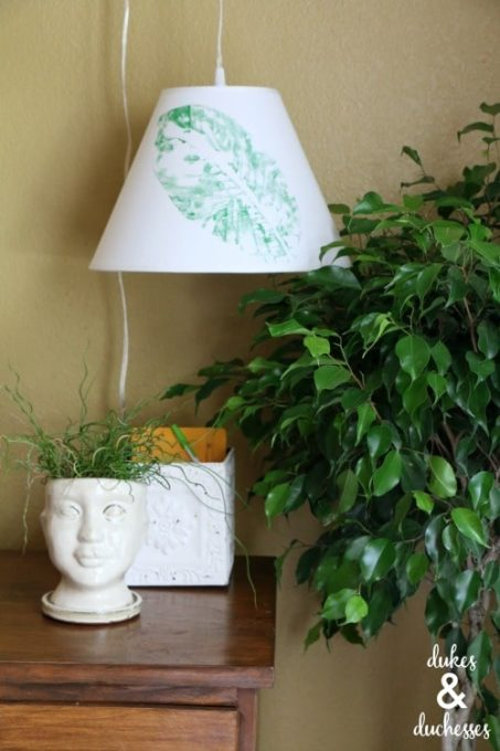 DIY Lamp Shade - Leaf Stamped