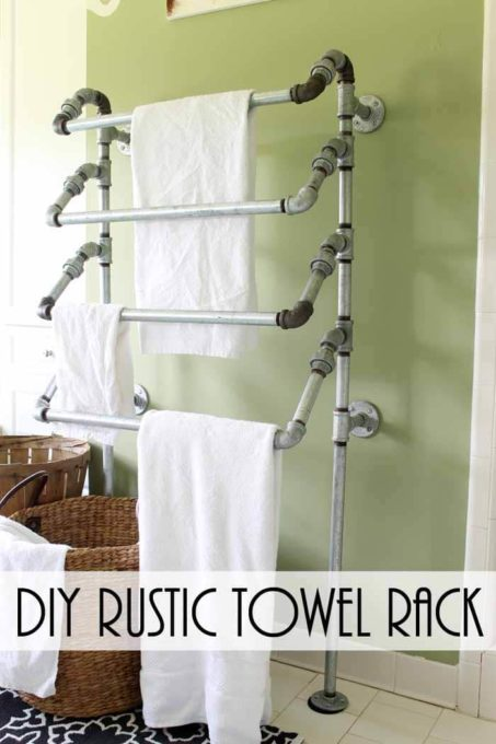 DIY Rustic Towel Rack from Galvanized Pipes