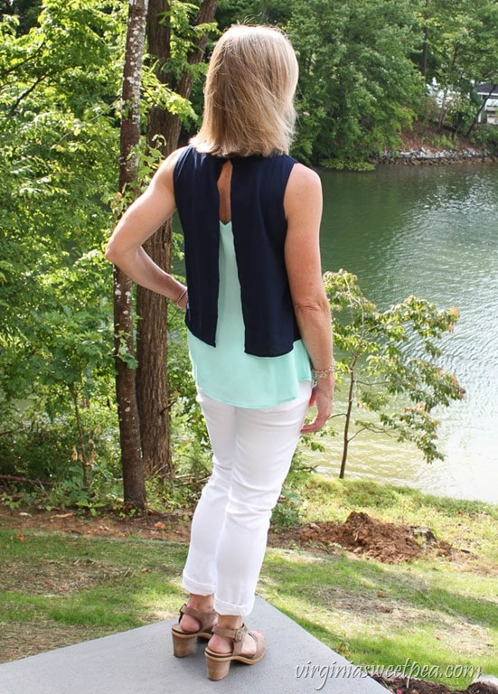 August Mist Rinaldo Layered Split Back Blouse - Stitch Fix Review for June 2017 - virginiasweetpea.com