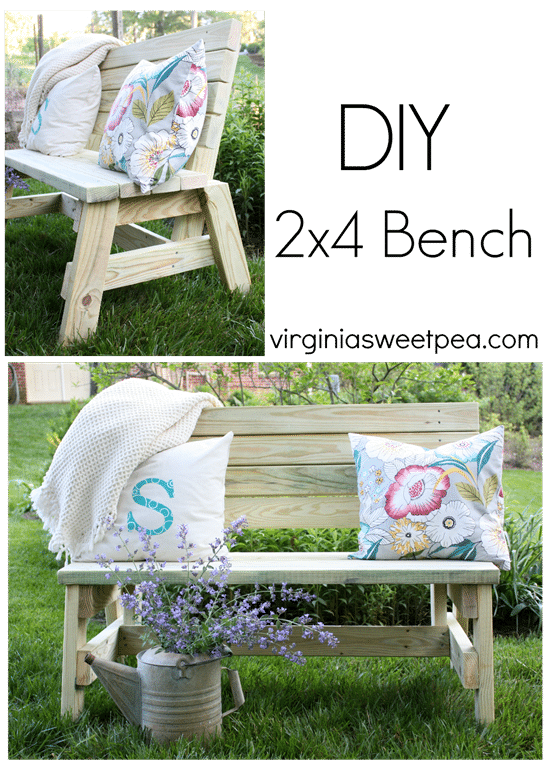DIY 2x4 Bench by virginiasweetpea.com