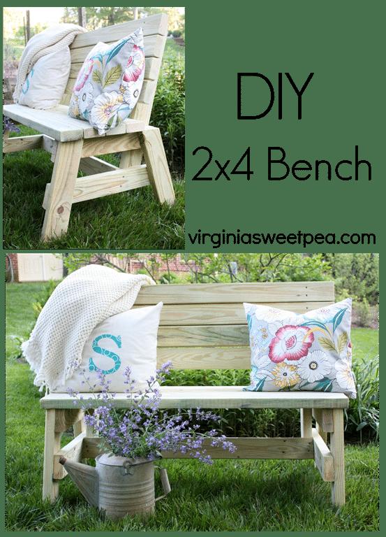 DIY 2x4 Bench by virginiasweetpea.com