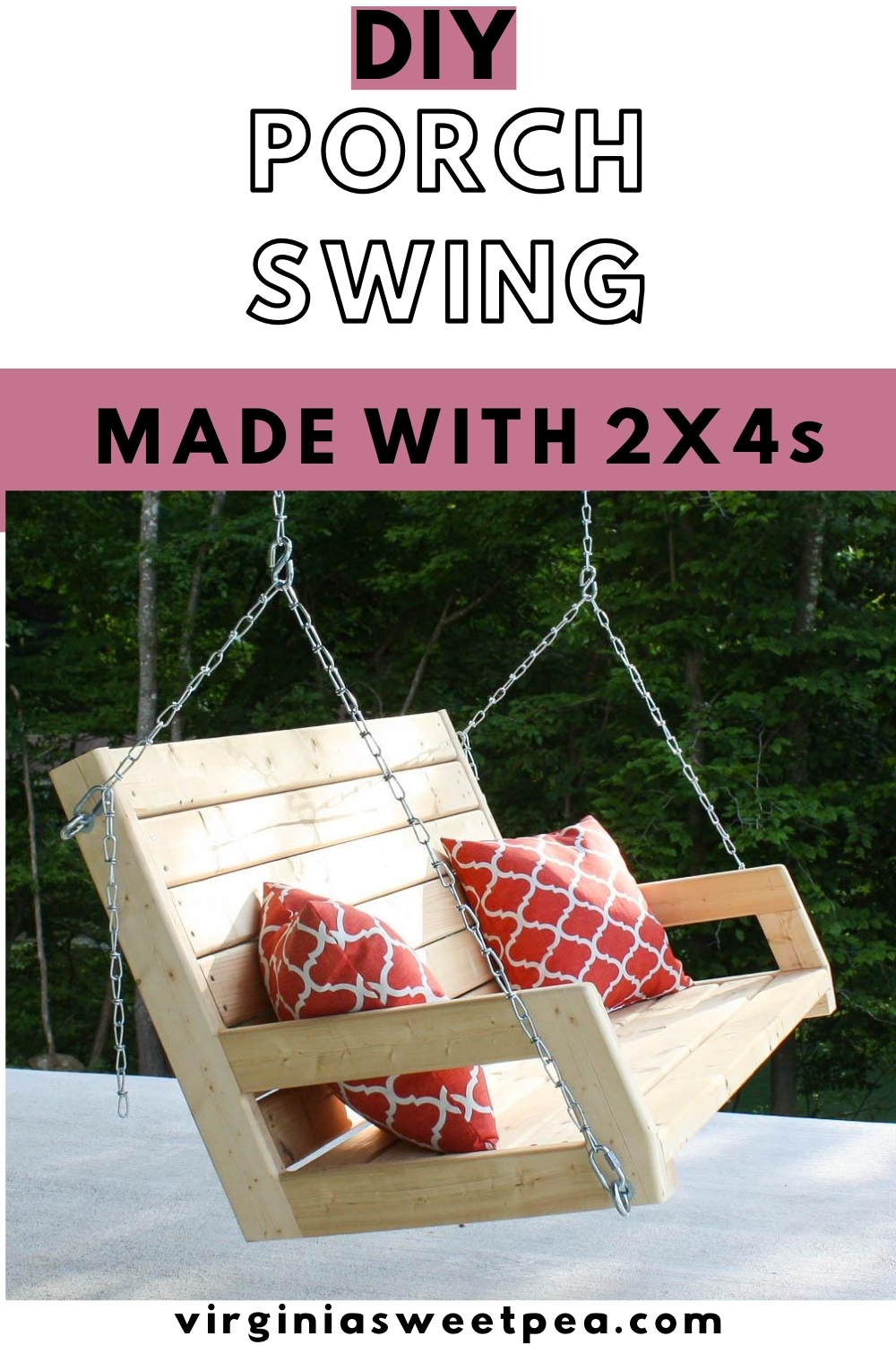 DIY Porch Swing - Learn how to make a porch swing using eight pieces of 2x4 lumber.  #diyporchswing #porchswing #diyswing  via @spaula