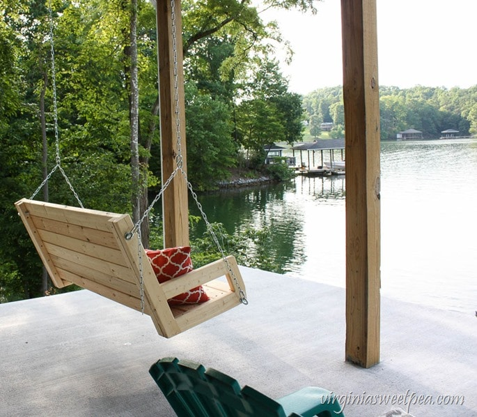 DIY 2x4 Porch Swing - Learn how to make a porch swing using just eight 2x4 pieces of lumber. Get the full tutorial at virginiasweetpea.com.