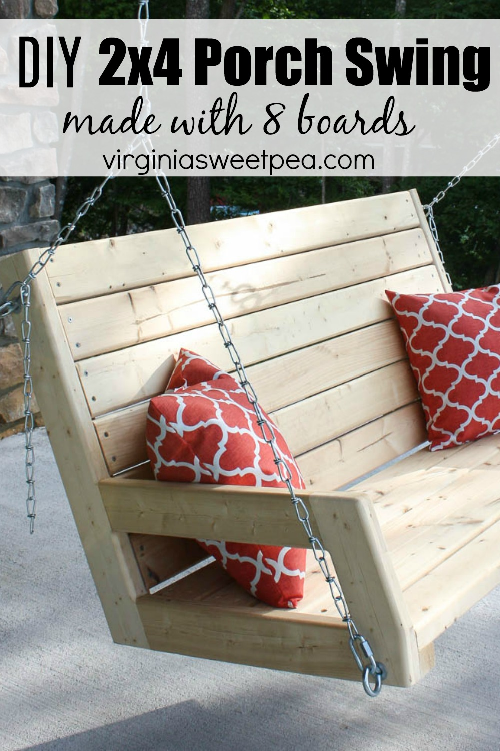 DIY 2x4 Swing - Learn how to make a swing using eight pieces of 2x4 lumber.  #porchswing #porchswing #diyporchswing via @spaula