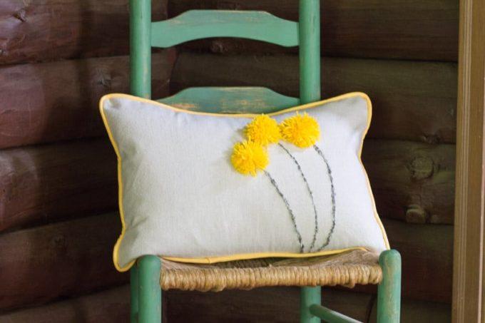 Drop Cloth Pom Pom Pillow