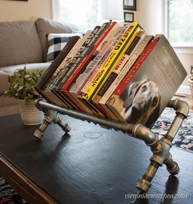 DIY Industrial Pipe Bookshelf - This is an easy DIY. Get the full tutorial at virginiasweetpea.com