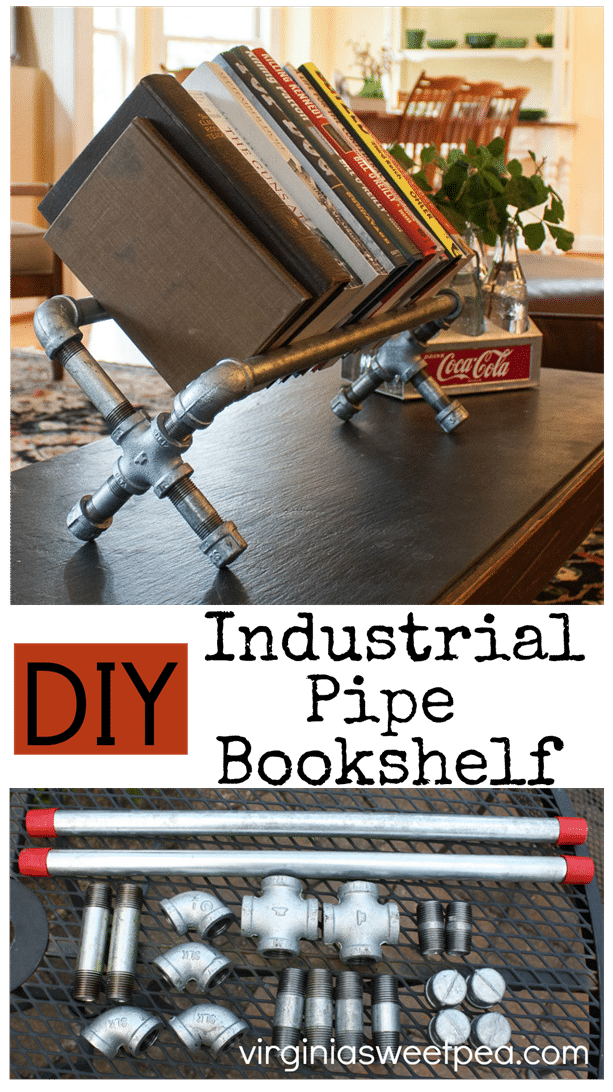 DIY Industrial Pipe Bookshelf- This bookshelf is easy to make and gives a room a cool industrial vibe. Get the tutorial at virginiasweetpea.com.