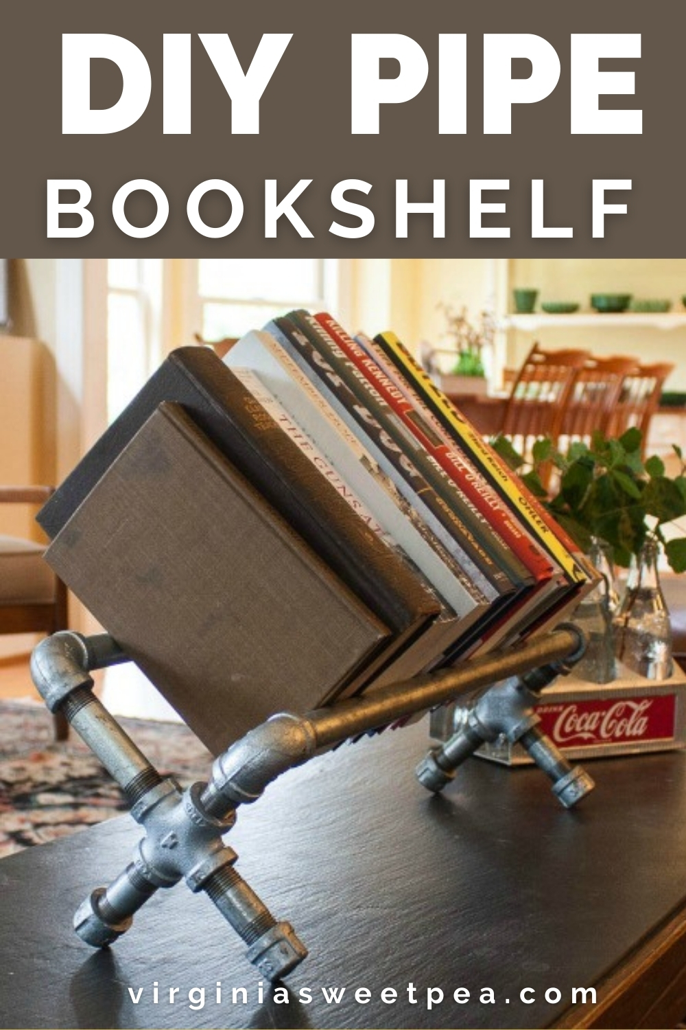 DIY Pipe Bookshelf - Learn how to use pipes and pipe fittings to make a bookshelf. No tools are required to make this project!  #diybookshelf #pipeproject via @spaula