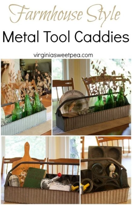 Farmhouse Style Metal Tool Caddies Styled Two Ways