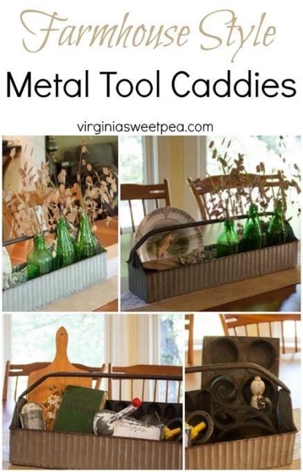 Farmhouse Style Metal Tool Caddies Styled Two Ways