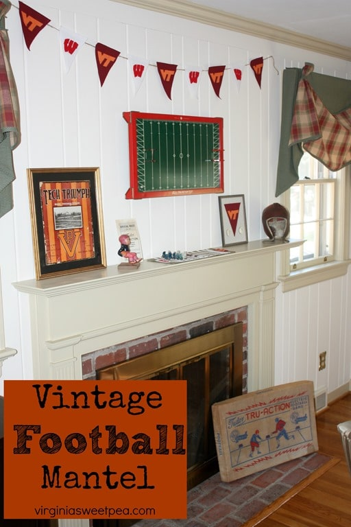 Vintage Football Themed Mantel - This fall mantel is styled with vintage football items mixed with modern crafts. See it all at virginiasweetpea.com